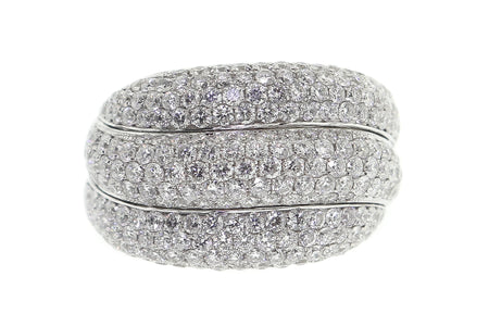 18k White Gold 3.00ct 3 row pave ring