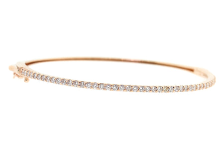1.25ct 14k Rose Gold single row bangle