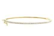 1.25ct 14k Yellow gold single row bangle