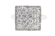2.10ct 18k White Gold square cocktail ring