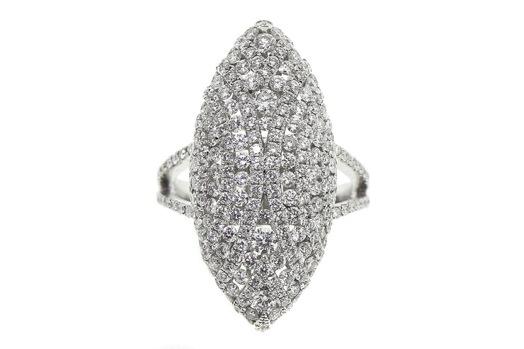 2.75ct 18k White Gold Marquis shaped pave cocktail ring