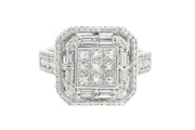 1.75ct 18k White Gold illusion set princess cut center,with baguette and round diamonds cocktail ring