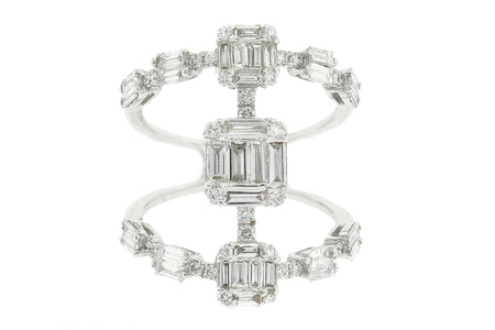 1.85ct 18k White Gold open style Cocktail ring,with Round & Baguette diamonds