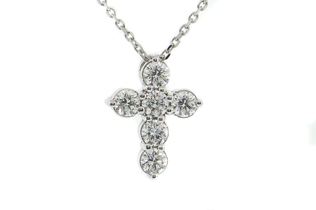 14k White Gold .80ct cross pendant