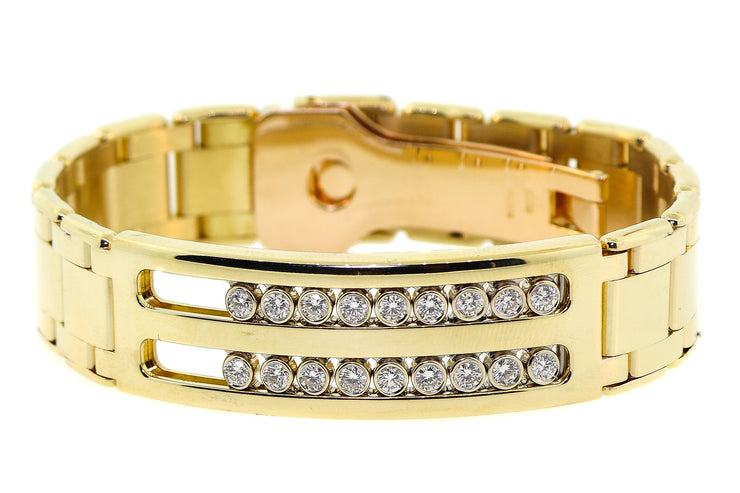 2.20ct 14k Yellow Gold, masterpiece link style men's style bracelet