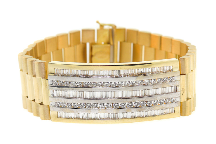 6.00ct 18k yellow gold president style men's bracelet with round and baguette Diamonds