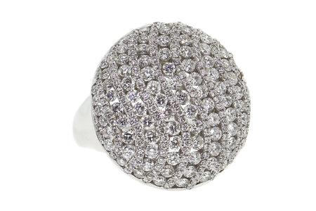 3.00ct 18k White Gold pave wawe style round cocktail ring