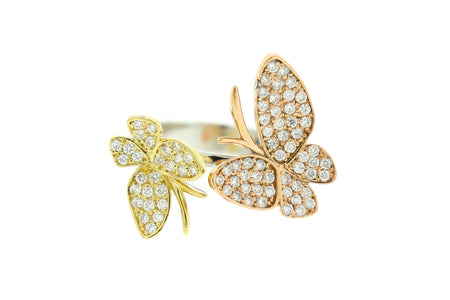 14k Two tone butterfly ring with .75ct diamond