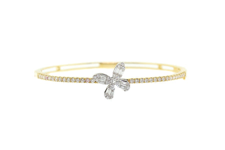 18k Gold, 1.50ct diamond Two tone Flower design bangle