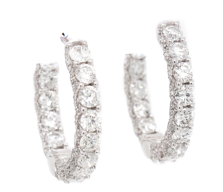 18k 5.00ct White Gold Hoops with Diamonds on the side and prongs