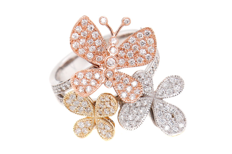 14k 1.30ct Tri Color Gold Butterfly ring