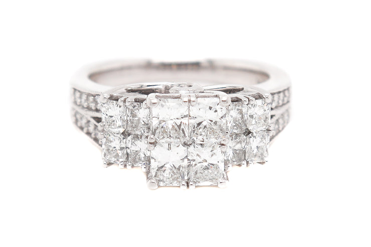 2.50ct 14k White Gold illusion set center engagement ring