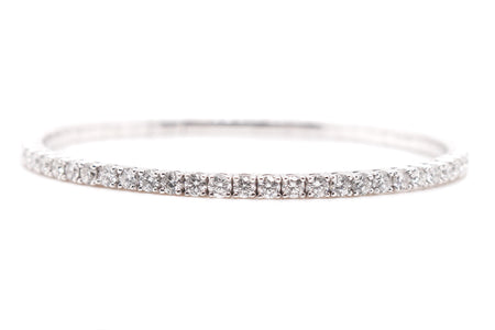 4.69ct 14k White Gold Flexible tennis Style Bangle
