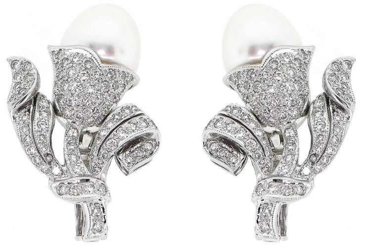 3.48ct 18k Diamond Pearl Earrings