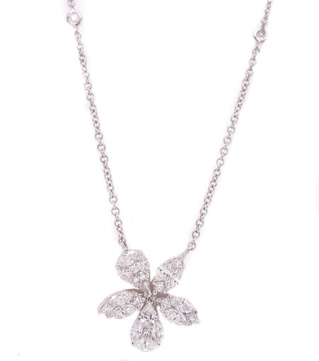 1.75ct 18k white gold abstract  flower pendant on diamond by the yard chain.