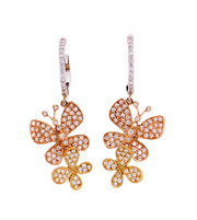 1.50ct Tri color 14k gold butterfly dangle earrings