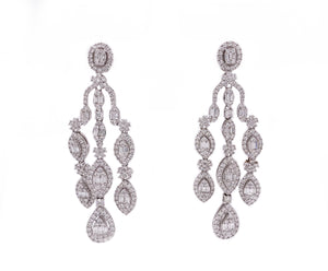 5.15ct 18k white gold 3 strand dangle earrings with round and baguette shaped diamonds