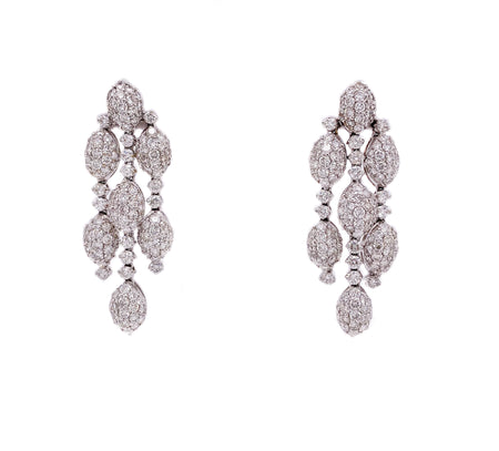 18k white gold 3 strand dangle earrings with 4.00cts of diamonds