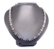 14k 11.00ct illusion style tennis necklace with round and baguette diamonds