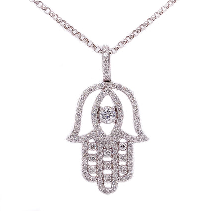 1.87ct 14k white gold hand of god pendant with marquise stone in the center