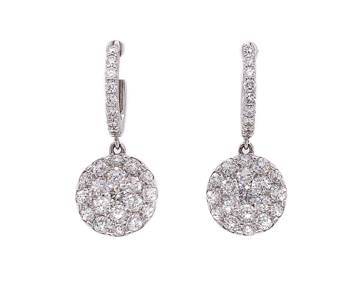 2.40ct 18k white gold pave dangle hoop earrings
