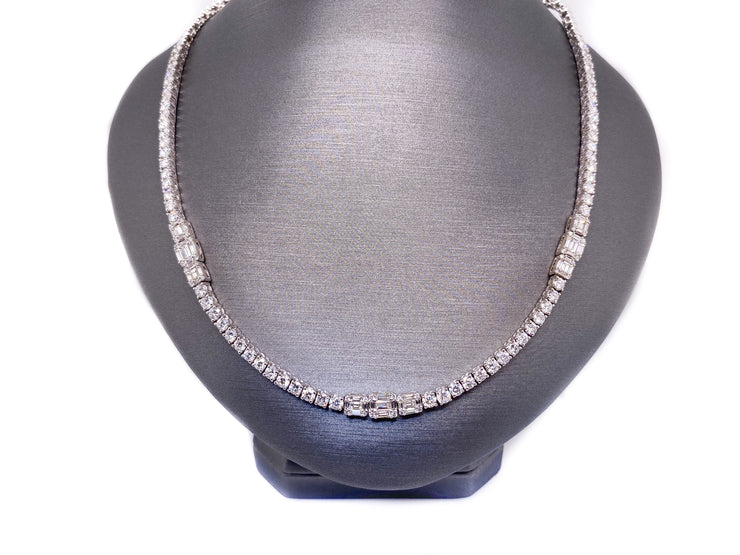 7.50ct 14k white gold tennis necklace with round and baguette diamonds