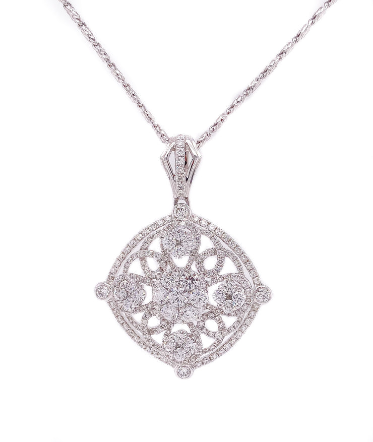 2.90ct 18k white gold ornate design pendant necklace