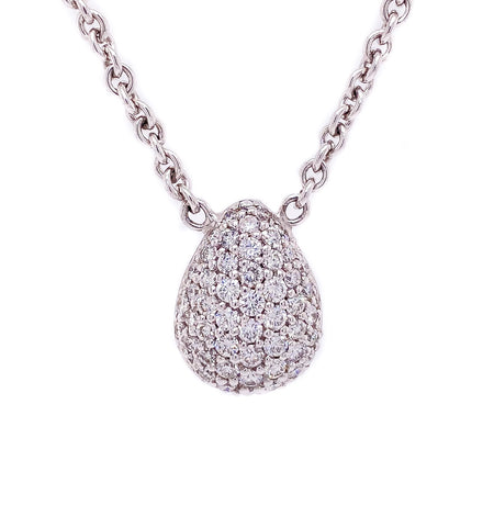 1.50ct 18k white gold pave drop pendant on a thick chain