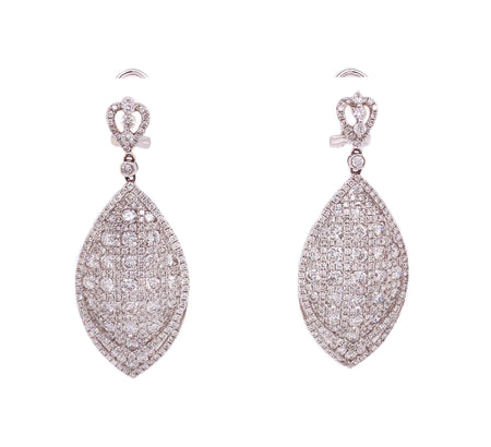 5.80ct 18k white gold drop style hanging earrings