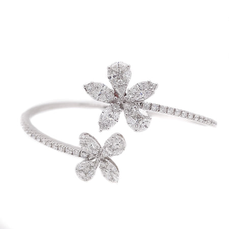 3.00ct 18k White Gold Cluster Illusion flexible Bangle