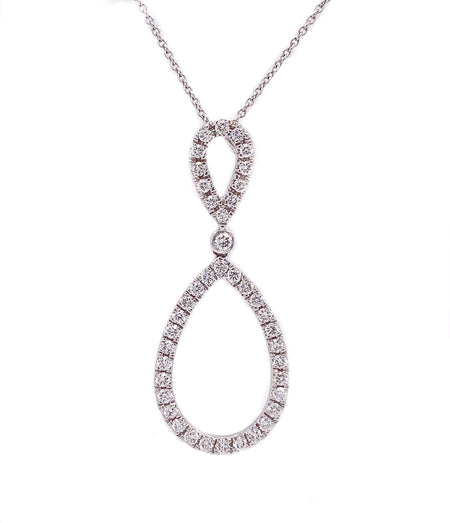 1.00ct 18k White Gold open style Drop  Pendant