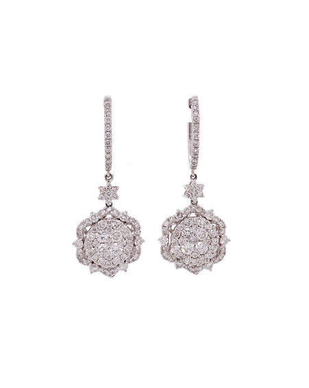 2.25ct 14k white gold classic floral design dangle earrings