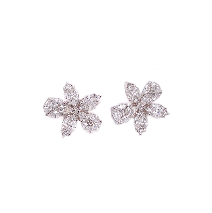 2.00ct 18k white gold flower design earrings