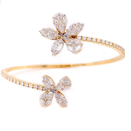 3.00ct 18k Yellow Gold Cluster Illusion flexible Bangle