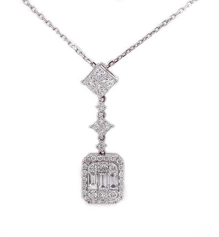 .70ct 18k white gold illusion style cluster pendant