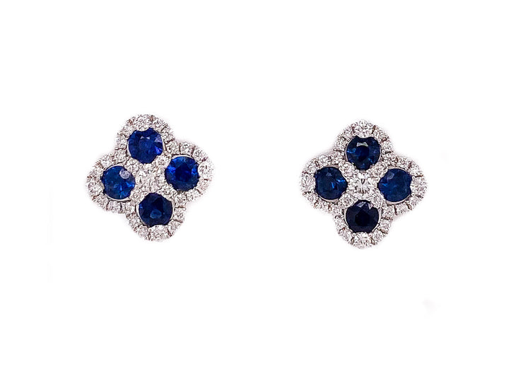 18k flower design studs with 1.30ct sapphires and 1.30ct of diamonds