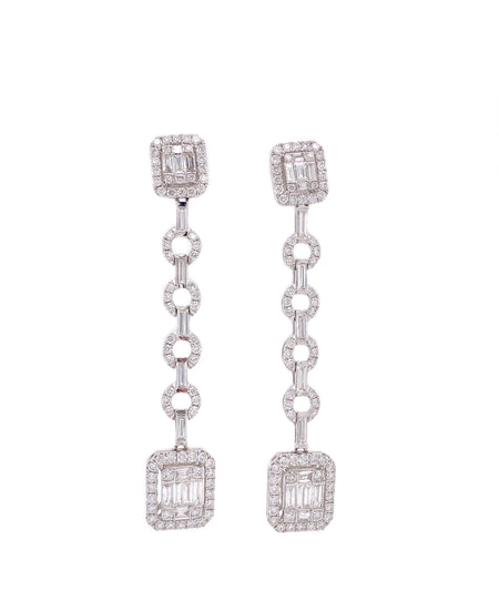2.00ct 18k white gold illusion style dangle earrings