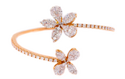 3.00ct 18k Rose Gold Cluster Illusion flexible Bangle