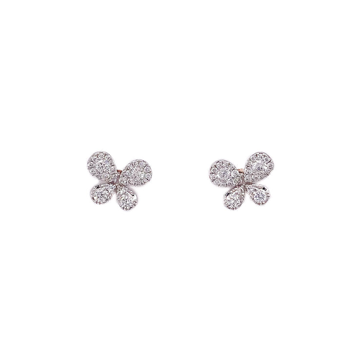 .50ct 18k white gold butterfly studs