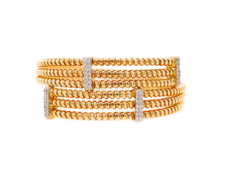 .60ct 18k Two tone gold flexible bangle