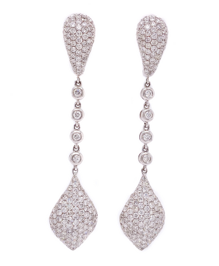 4.00ct 18k White Gold, Pave drop Earrings