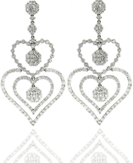 White Gold & Diamond Heart Shaped Earrings