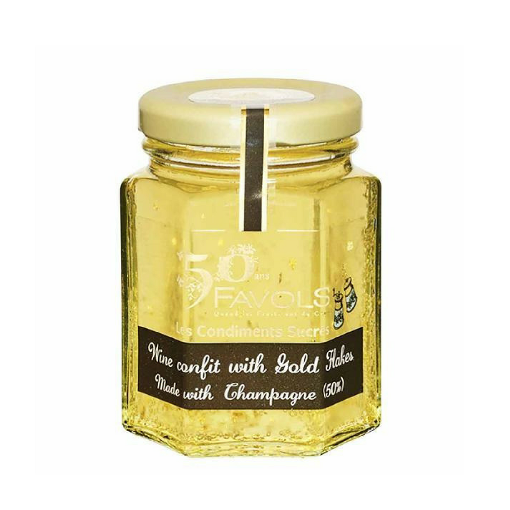 Favols Champagne Confit with Gold Flakes 3.8 oz. (110g)-Favols-Le Tablier Bleu | Online French Supermaket