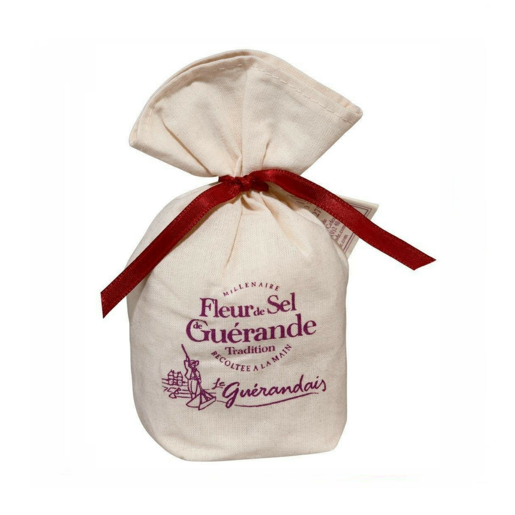 Le Guérandais French Salt Fleur de sel de Guérande, linen bag · 125g (4.4 oz)-COOKING & BAKING-Le Guerandais-Le Tablier Bleu | Online French Supermaket