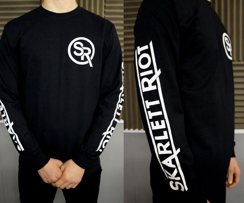 Skarlett Riot Long Sleeve Emblem with Sleeve Print- Black