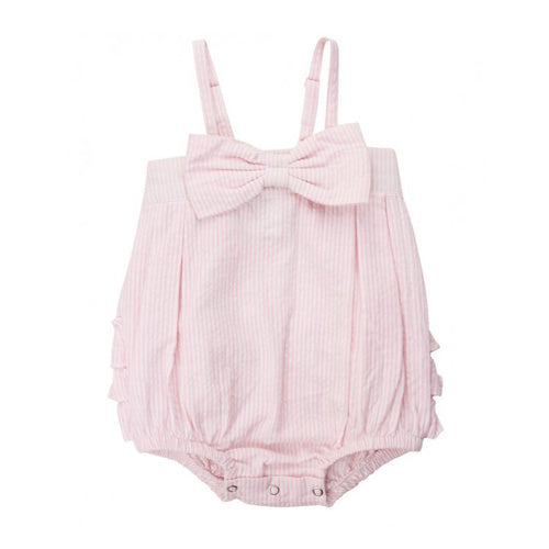 Pink Seersucker Bow Bubble Romper
