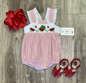 Smocked Girl Watermelon bubble