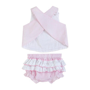 Pink Striped Seersucker Fuzzy Bunny Top and Bloomer Set