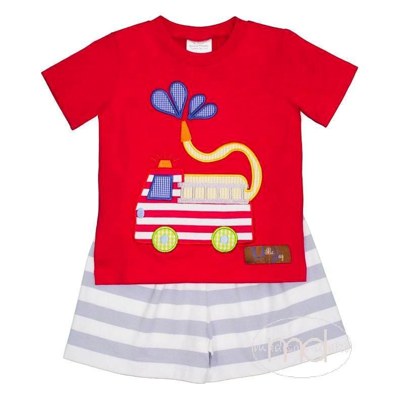 Firetruck Applique Short Set