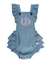 Light Wash Denim Flutter Overall Romper